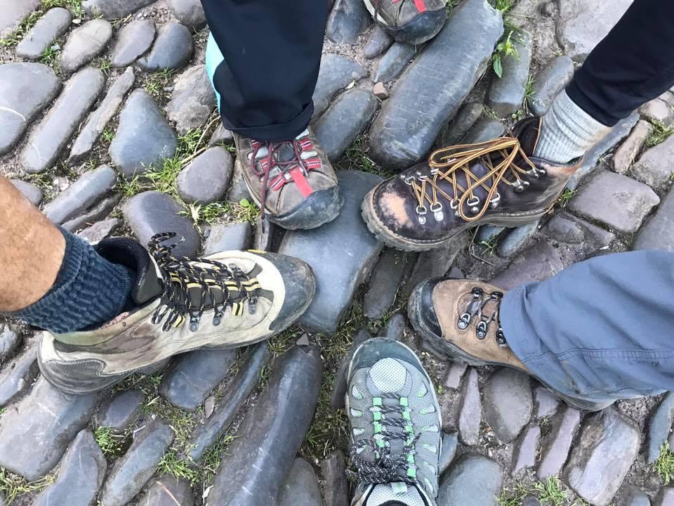 hikers feet on the south west coastal path