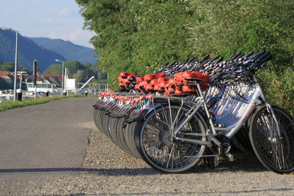 Row of bikes on the Danube River Path