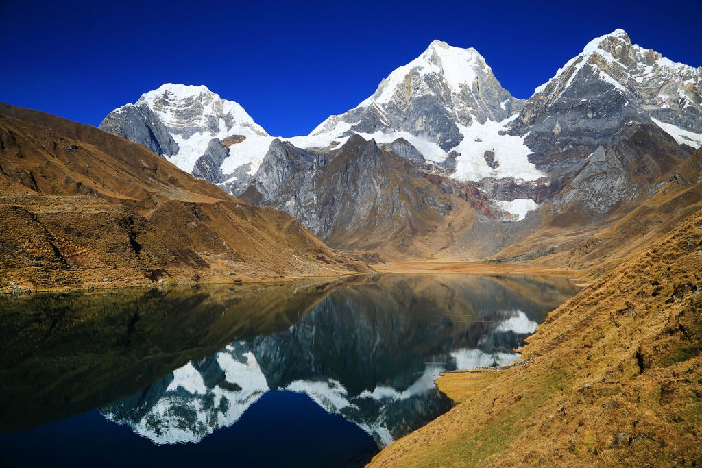 Mountains in Peru reflected in a lake