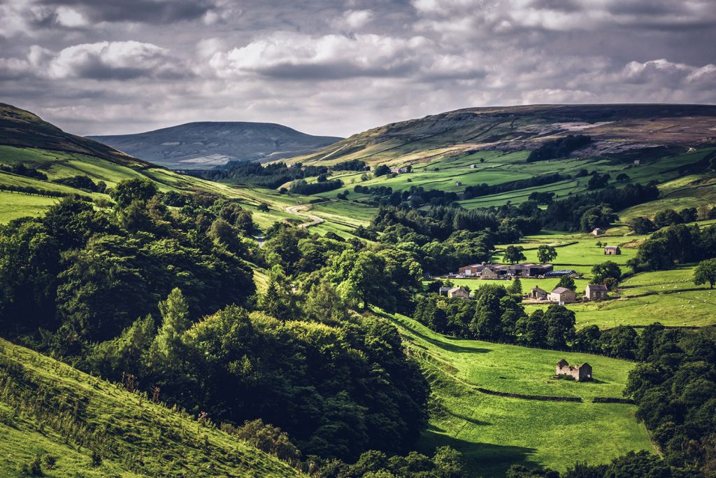 Rolling green hills fade into the distance on the Yorkshire Dales