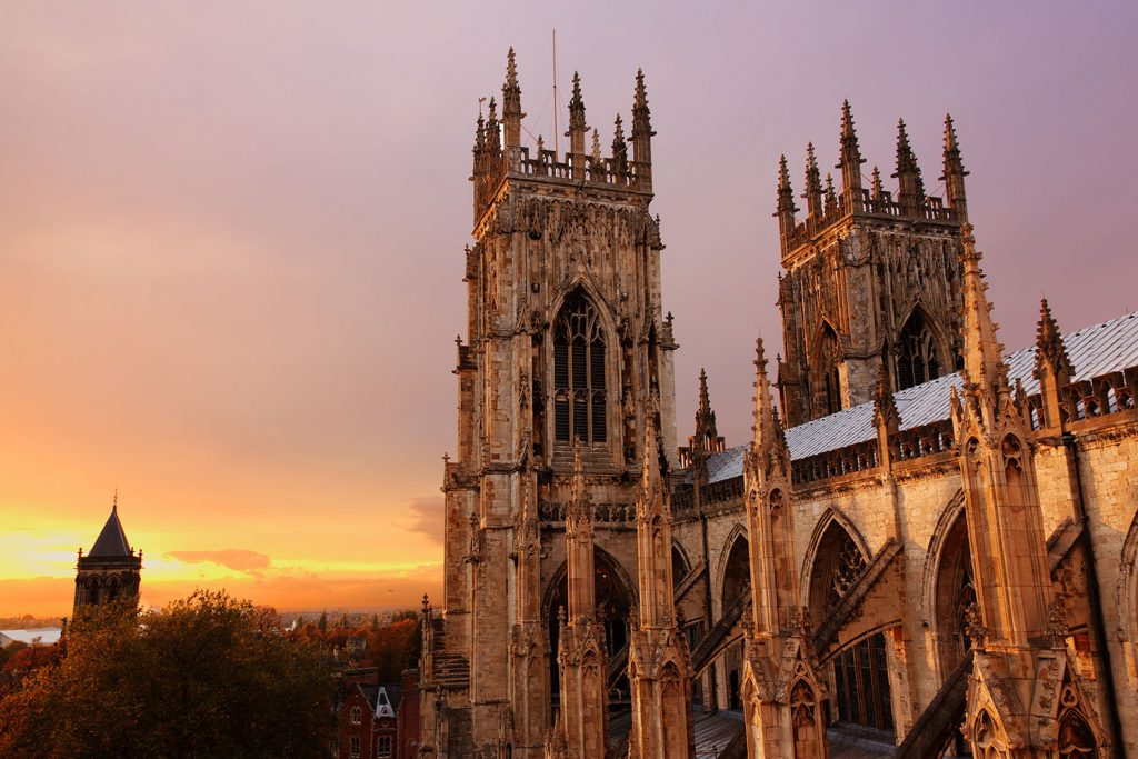 York minster bathed in the light of the setting sun.