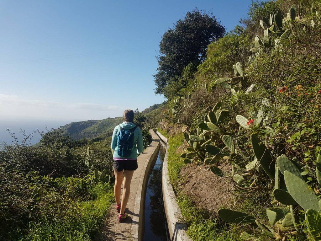 Walking in Madeira on levadas crossing the Flower Island