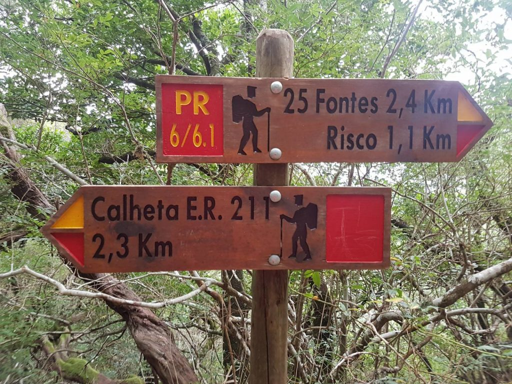 Walking trail signs in Madeira, signposting to 25 Springs and Calheta, two of Madeira's famous walks