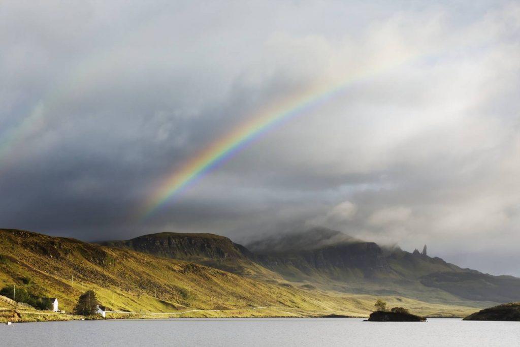 rainbow across the isle of skye