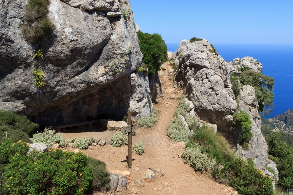 hiker on a trail in Mallorca
