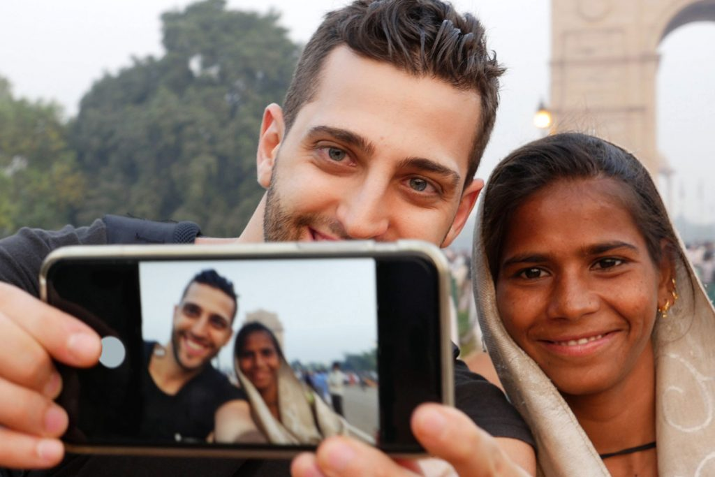 Taking a selfie with the locals
