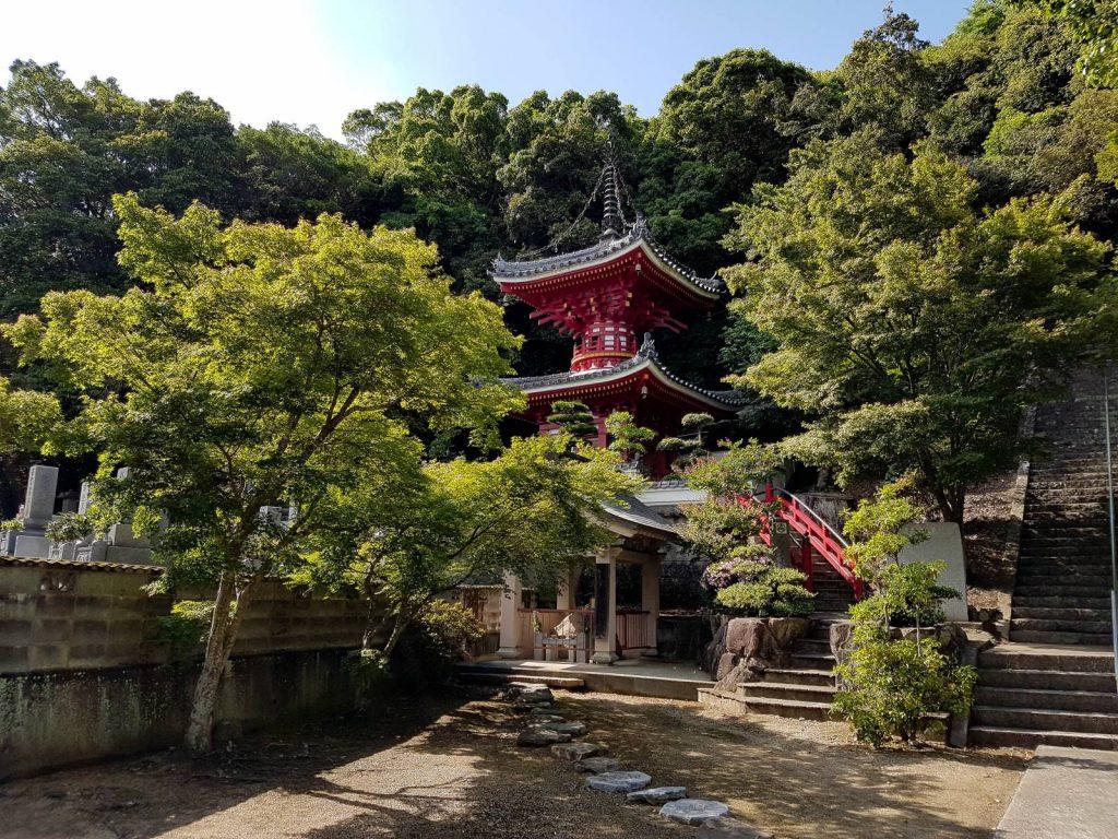 Temple hidden behind trees on the Shikoku Pilgrim's trail