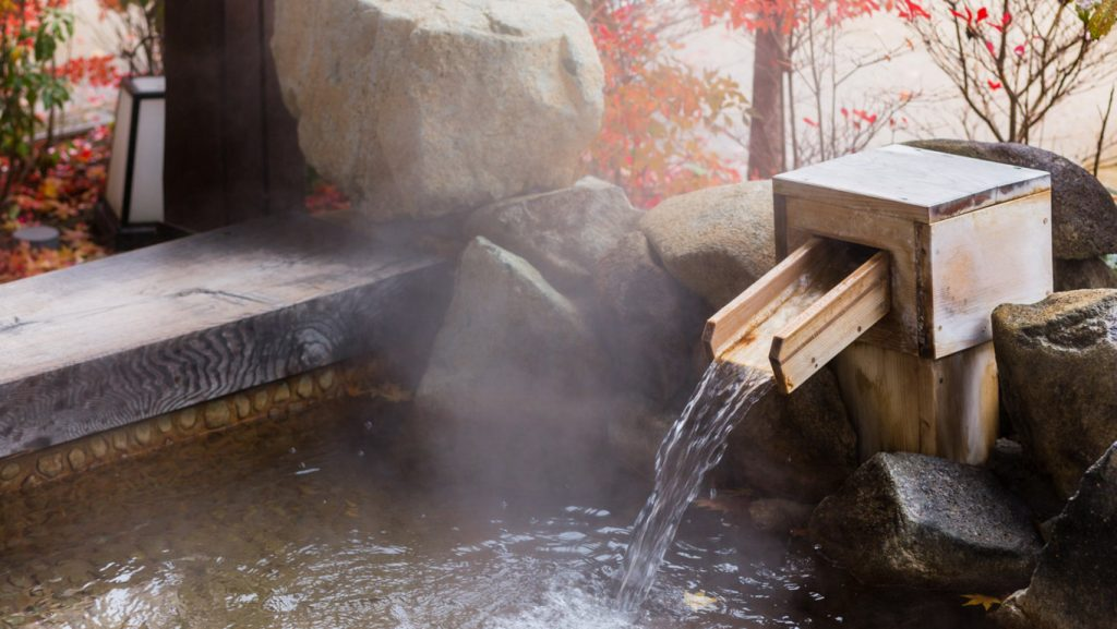Onsen hot spring bathing.