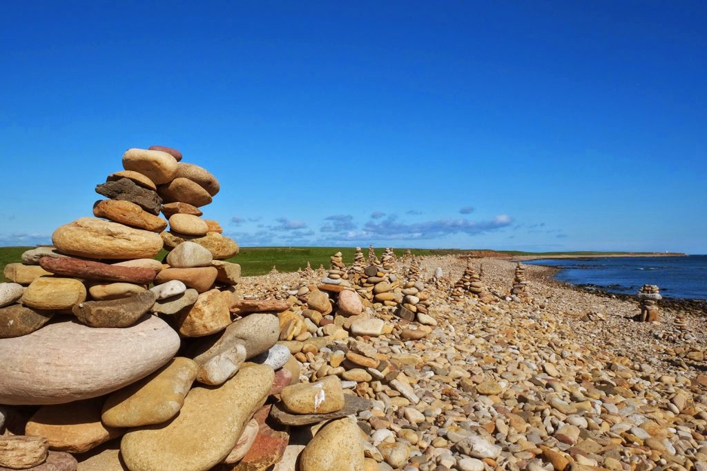 Stone cairns holy island
