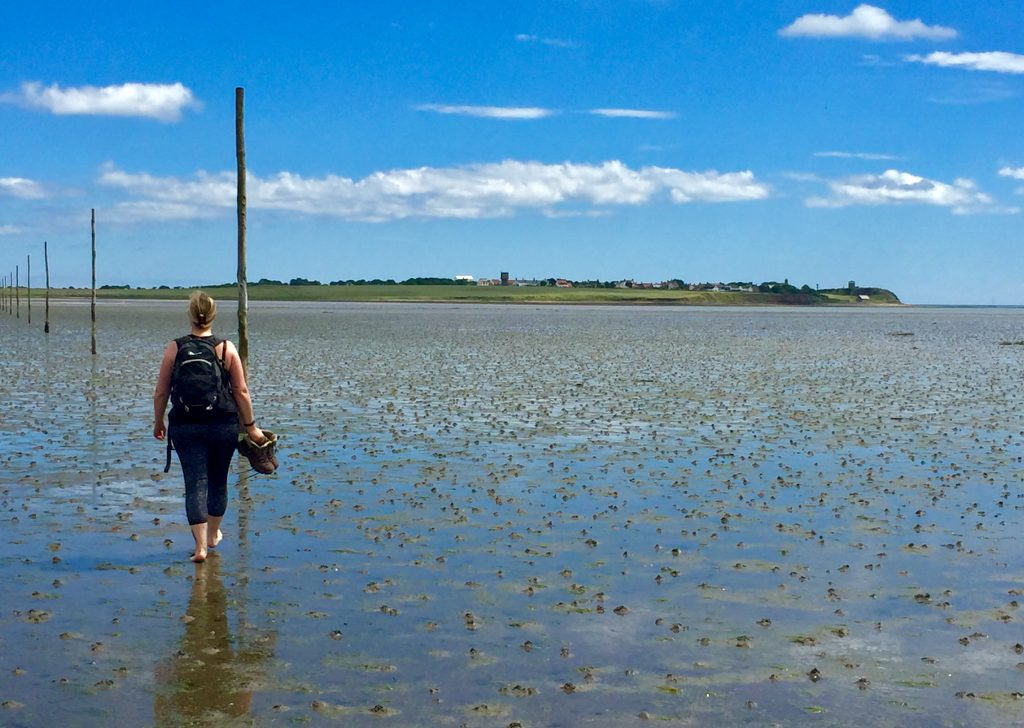 Gayle crossing to Holy Island at low tide