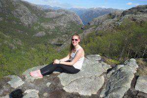 Kinga admires the views at Preikstolen