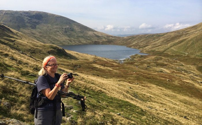 Taking a photo whilst walking the Coast to Coast trail