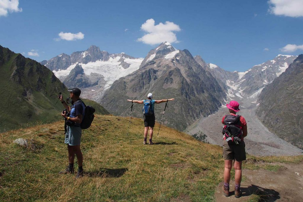 Hikers take in the view on the Tour du Mont Blanc