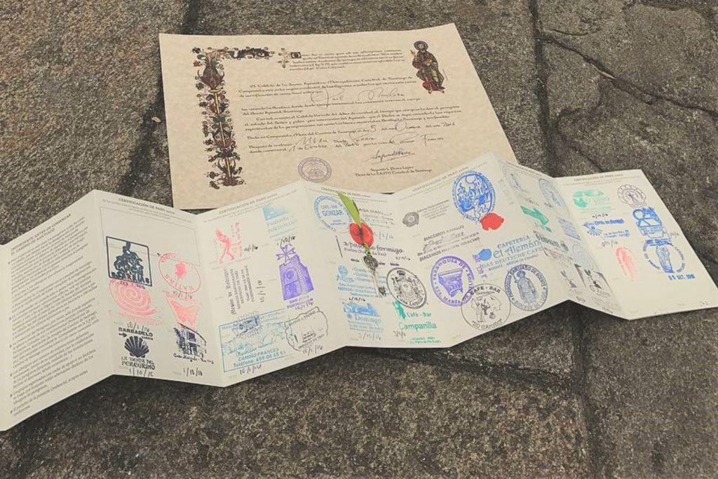 Camino pilgrim's passport with stamps