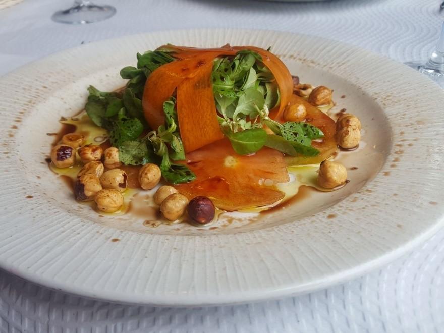 Delicious tomato & hazelnut salad at Casa Acrivo in A Rua.