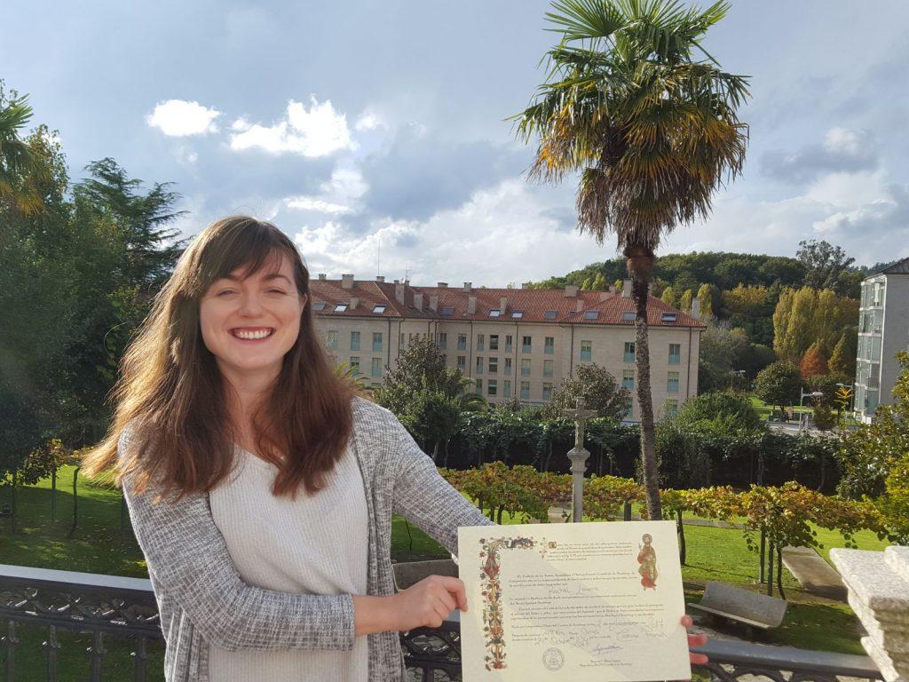 Rachel Camino Certificate at the end of the Camino de Santiago