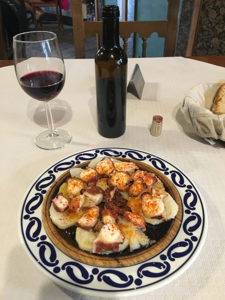 Dish of octopus and potatoes