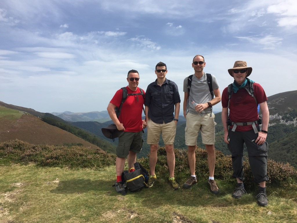 walkers on the pyrenees on the Camino de Santiago