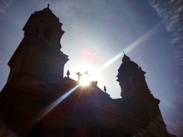 Sunset over Santiago Cathedral