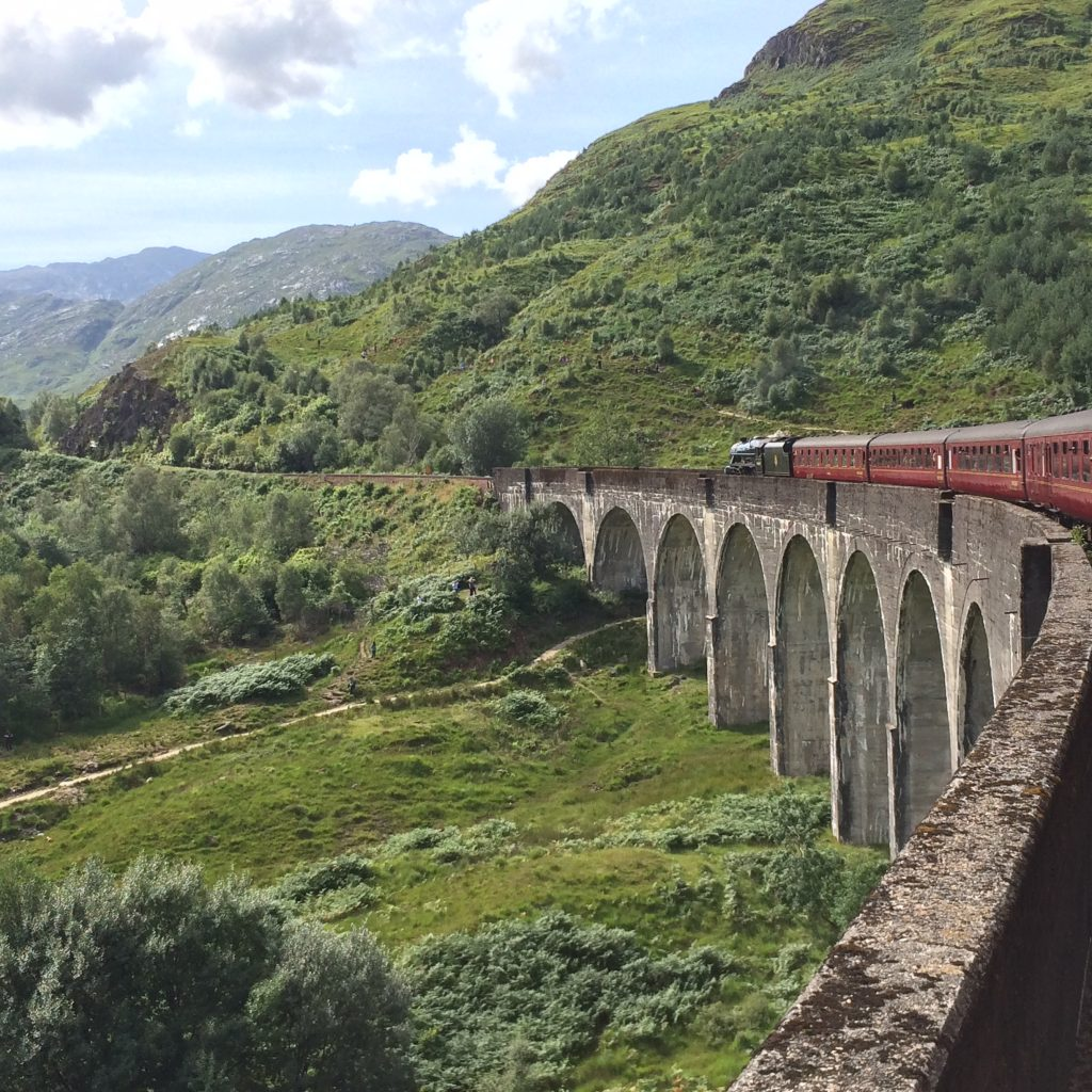 The Jacobite flying across the Glenfinnan Viaduct
