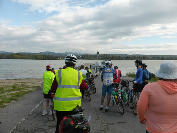 Group of happy cyclists on the Danube Cycle Path