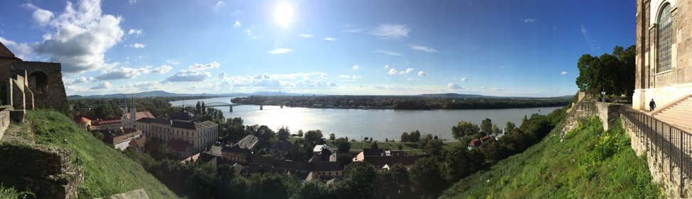 Spectacular vista over the Danube from the basilica in Esztergom, Hungary