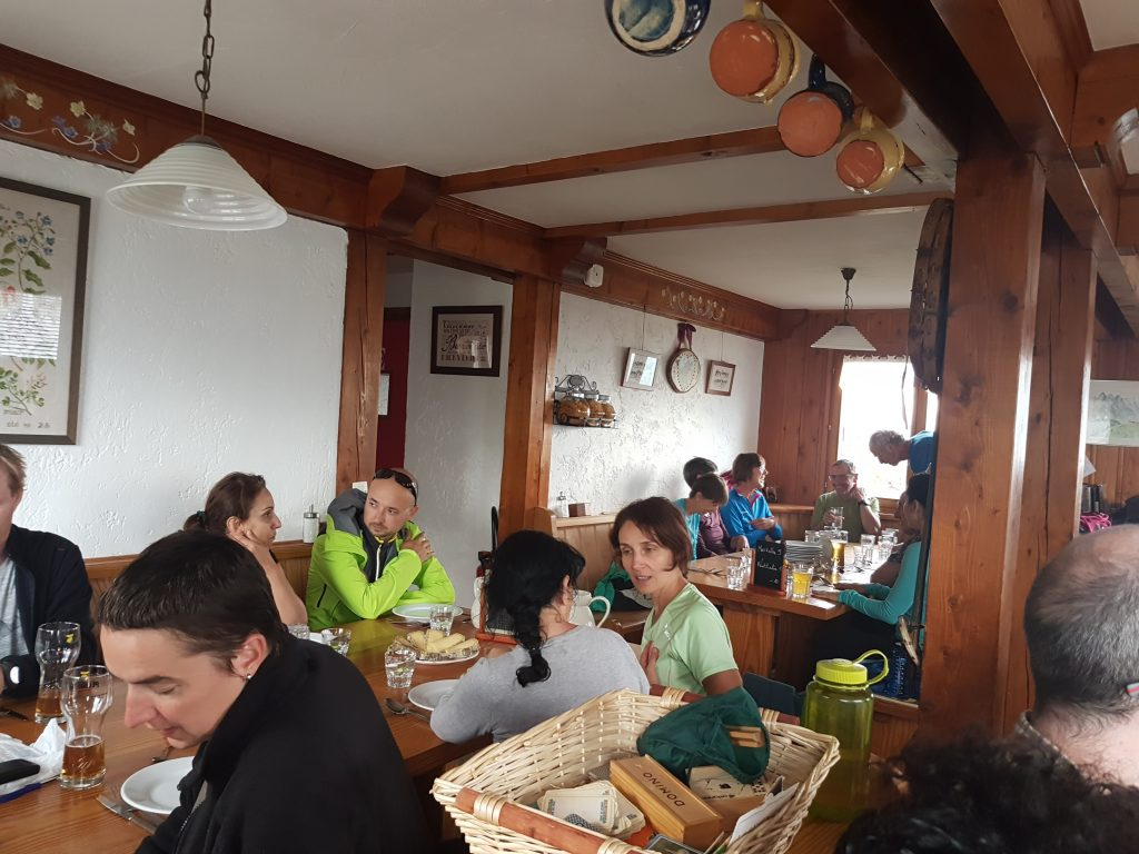 Eating dinner in Mountain Hut