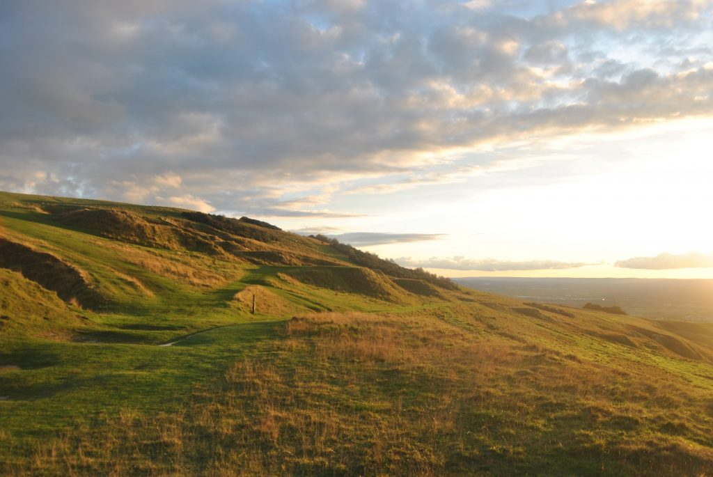 Golden hills on the Cotswold Way.