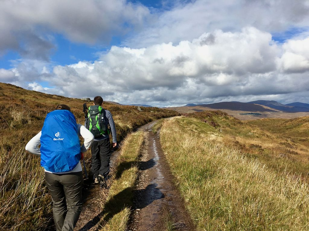 Walking on a trail on the West Highland Way