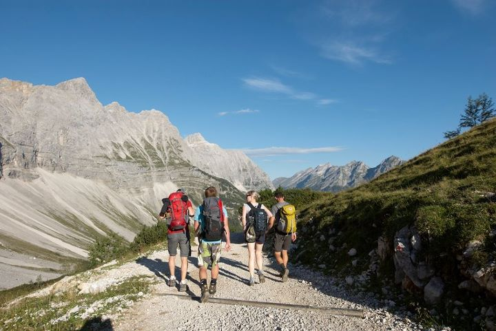 Group walking in tyrolean alps