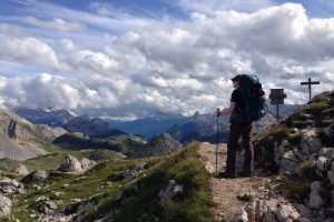Hiker admiring the views on the Alta Via 1