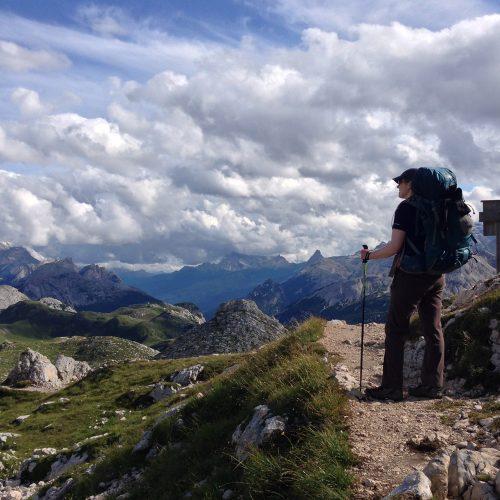 Hiker admiring the views on the Alta Via 1